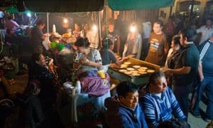 Street stalls at night in Antigua, Guatemala