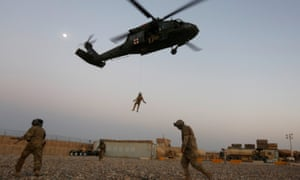 US troops take part in a practice medical evacuation in Helmand province in Afghanistan last month.