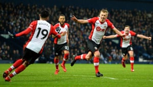 James Ward-Prowse celebrates after scoring the third and West Brom are in trouble at the bottom.