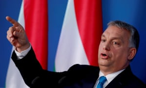 Hungarian PM Viktor Orbán attends the weekly government news conference in Budapest.
