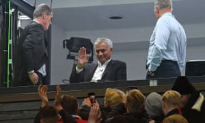 José Mourinho, pictured waving to fans at Old Trafford, has been linked with the Arsenal job.