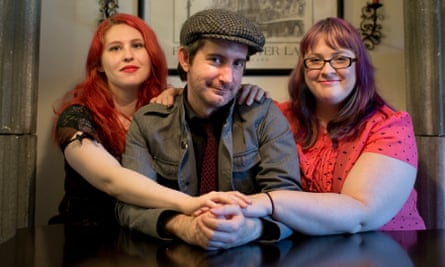 Tamela Clover (left), Jeff Lords and Gaile Parker are a polyamorous threesome living in Portland. They are in a 'V' dynamic, with Jeffry as the pivot person.