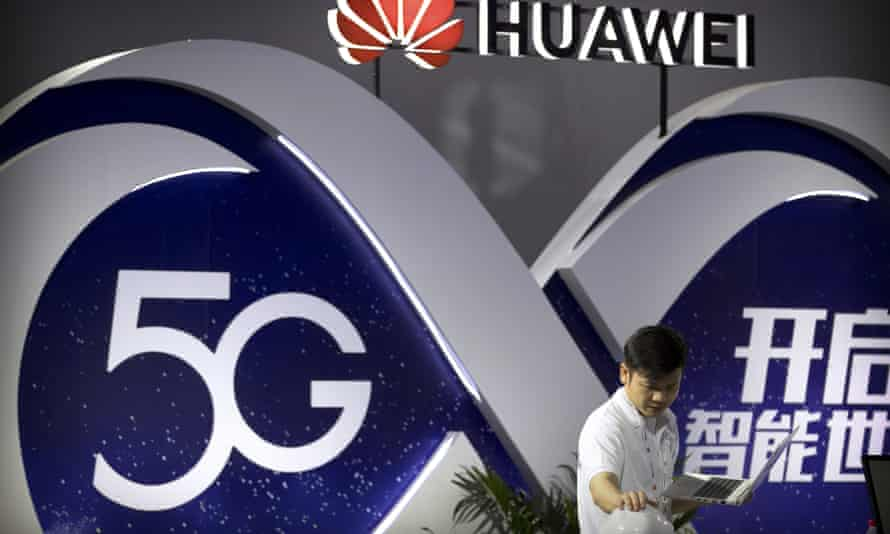 A display for Huawei 5G wireless technology in Beijing.