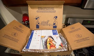 Meal prep items from a Blue Apron box in Boston, Massachusetts.