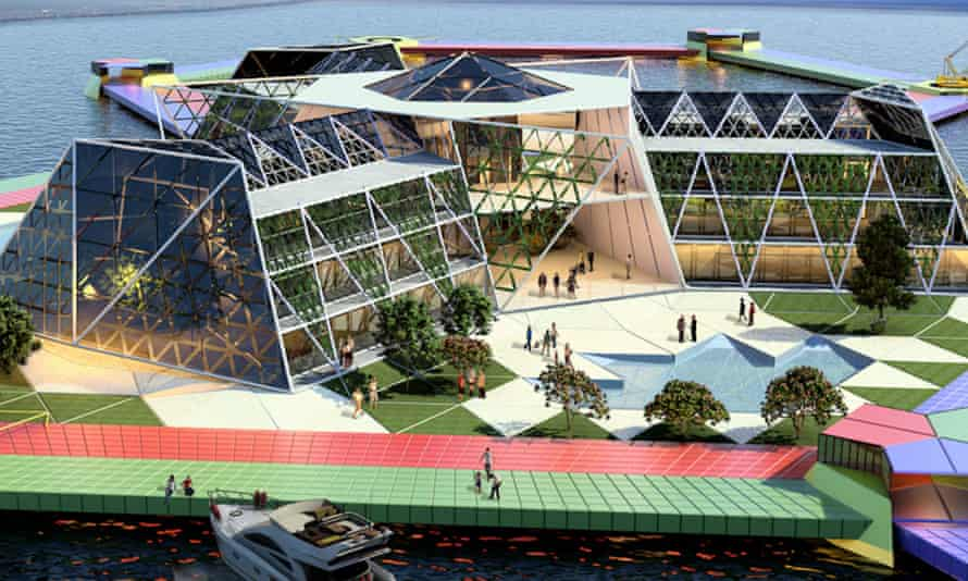 An artist's concept model for the Seasteading Institute