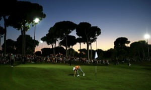 Tyrrell Hatton putts on the 18th green during a dramatic six-man play-off at the Turkish Open.