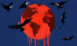 Illustration - of vultures feasting on planet dripping with blood – by Ben Jennings