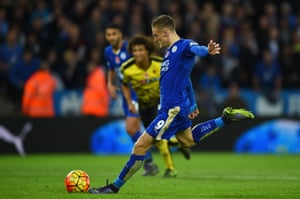 Jamie Vardy scores from the spot to complete a 2-1 victory for Leicester against Watford on 7 November
