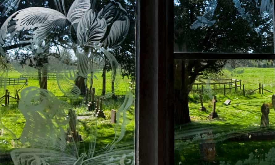 etched glass windows.