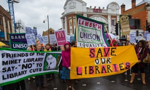 Residents in Lambeth, south London, protest against library closures.