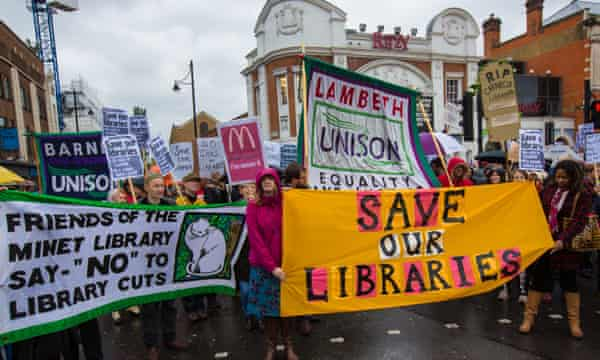 Lambeth residents have protested against library closures in the borough.