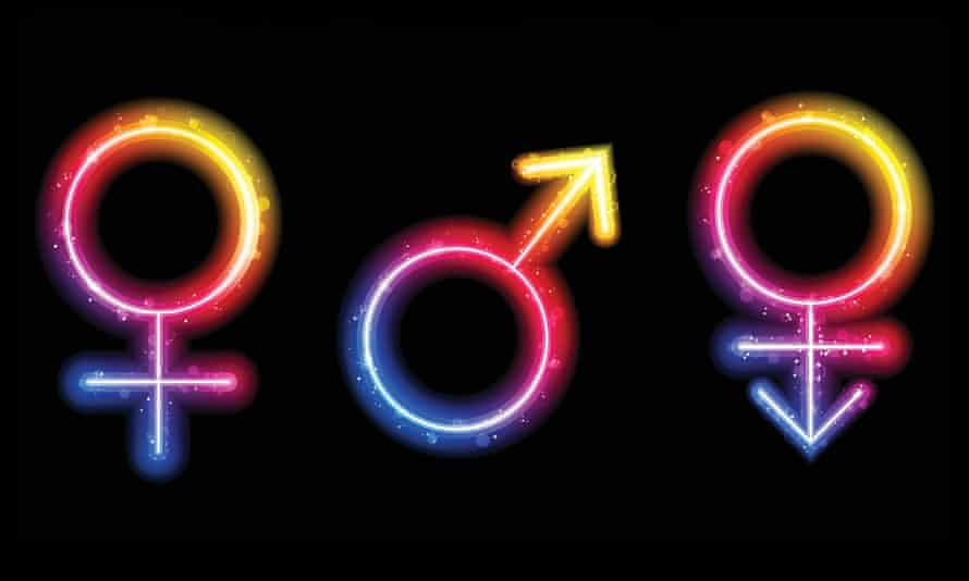 Male, Female and Transgender Gender Symbols Laser Neon.