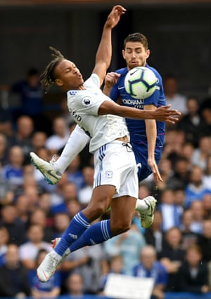 Cardiff's Bobby Reid challenges Chelsea's Jorginho for possession at Stamford Bridge.