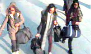 Too late to stop: (from left) CCTV image of Amira Abase, Kadiza Sultana and Shamima Begum at Gatwick airport, February 2015.