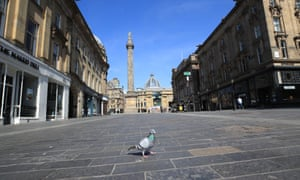 Grey's monument stands at the top of an empty street in Newcastle upon Tyne as shops and business remain closed and the population in lockdown in the UK's continuing fight against the coronavirus.