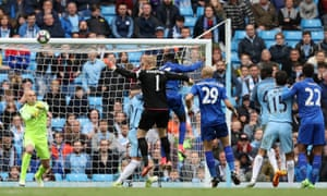 Kasper Schmeichel of Leicester City comes forward for a free kick