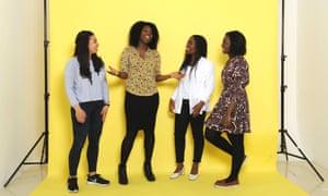 Guardian Scott Trust Bursary journalists: Charlie Brinkhurst-Cuff (grey top) Isabel Togoh (white shirt) Aletha Adu (Paisley print dress) Emmanuella Kwenortey (yellow top)