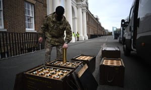 Preparations for the gun salute to commemorate the death of Britain's Prince Philip.