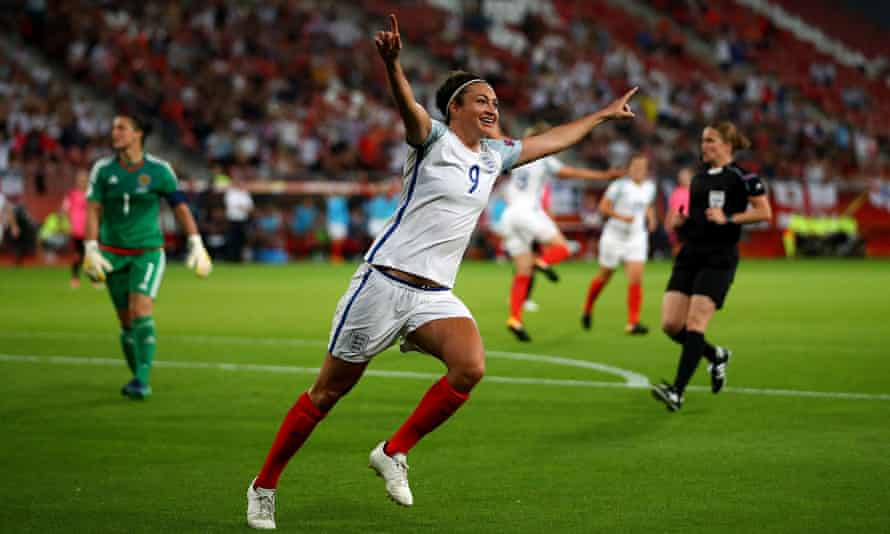 Jodie Taylor, celebrating here after completing a hat-trick for England against Scotland at Euro 2017, was named player of the year at the FA Women's Football Awards.