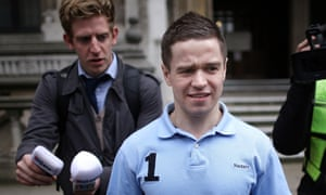 Sam Hallam leaving the court in 2012, after being cleared of murder charges.