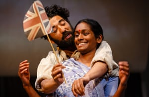 The Empress, 2013. Directed by Emma Rice, designed by Lez Brotherston. The photograph shows Hari (Ray Panthaki) and Rani Das (Anneika Rose).