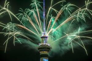 The SkyTower firework display in Auckland, New Zealand