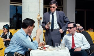 Manchester Evening News journalist David Meek (standing) in Lisbon prior to the Manchester United v Benfica match on 8 March 1966
