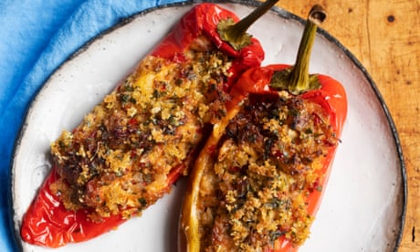 Nigel Slater's recipes for peppers with crab and tarragon, and mushrooms and green beans