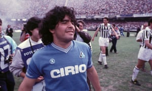 Maradona during a Serie A match between Napoli and Juventus in 1985.