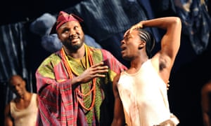 Nonso Anozie, left, and David Ajala in Death and the King's Horseman at the Olivier theatre, London.