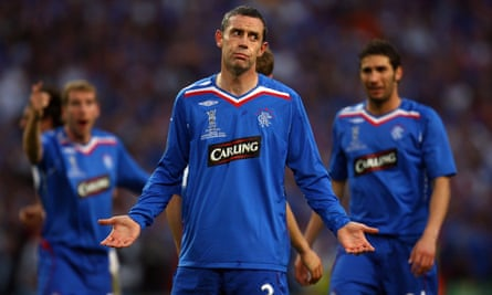 Rangers players during their 2008 Uefa cup final defeat … the club went bust in 2012.