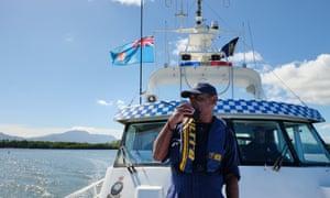 A crew member of the police boat Veiqaravi in Fiji