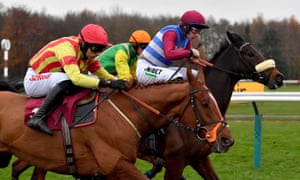 Adrian Heskin and Keeper Hill (furthest right) win a race at Haydock Park.