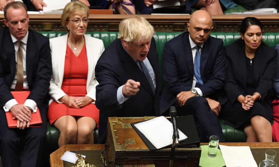 Boris Johnson gestures while answering questions on the proroguing of Parliament, in the House of Commons
