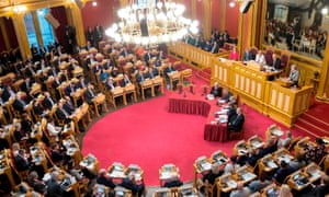 Theresa May speaking at the Norwegian Parliament during the Nordic Council.