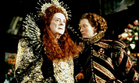 Quentin Crisp as Queen Elizabeth I and Tilda Swinton in Orlando (1992).