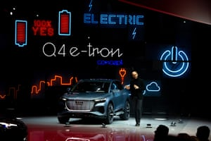 Audi presents its all electric SUV – the Q4 e-Tron, with up to 302bhp from two batteries. The car will go on sale in 2020.