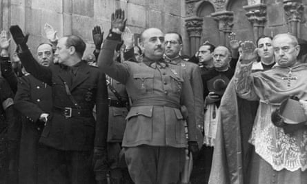 General Franco, centre, attends the second anniversary of the death of Primo de Rivera, founder of the Falangists, in Burgos, Spain, 1938.