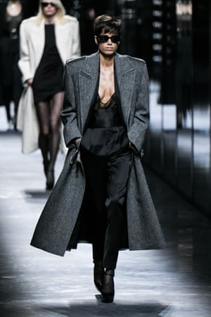A luxe charcoal-wool tailored coat at Saint Laurent's autumn/winter 2019 show