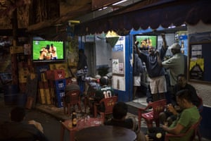 Rio de Janeiro, Brazil Celebrations in a bar after Brazil scored a goal against Denmark during the men's Olympic football tournament