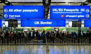 Immigration and passport control at Heathrow airport, London.