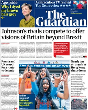 Guardian front page, Monday 17 June 2019