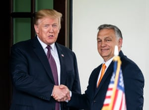 Donald Trump welcomes the Hungarian prime minister Viktor Orbán to the White House in May.