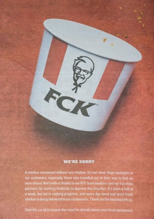 A KFC apology advert in some newspapers.