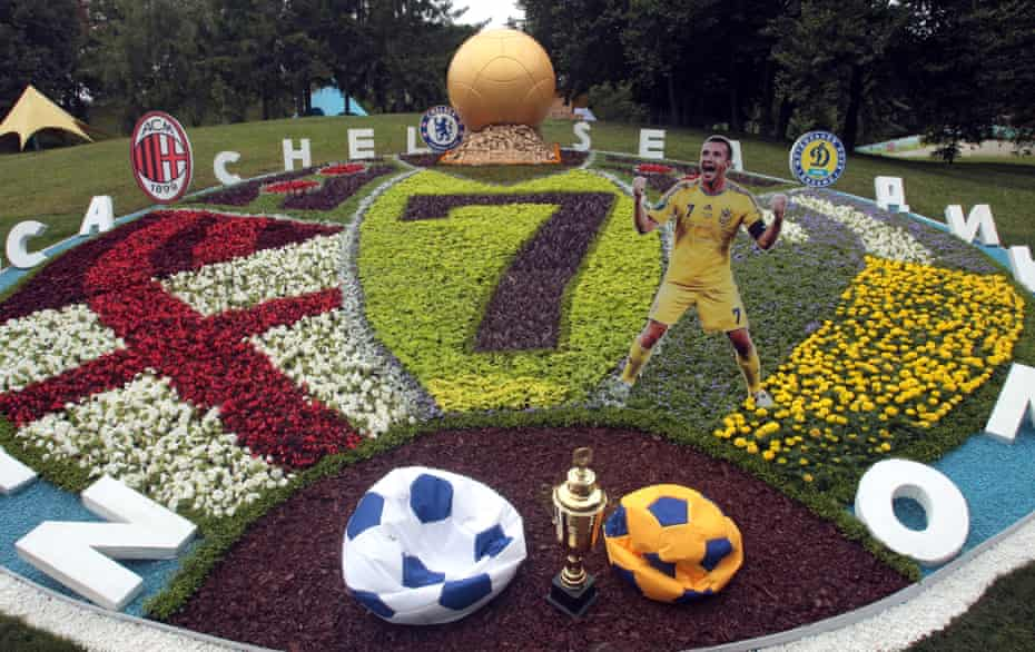 A flowerbed dedicated to Andriy Shevchenko at a flower show in Kyiv