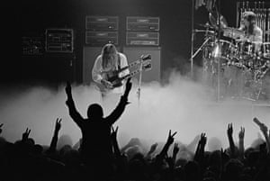 Alex Lifeson and Neil Peart play at the Odeon in Birmingham in 1978.