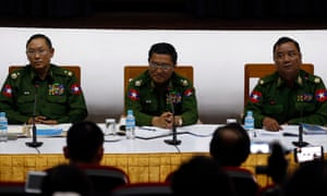 Myanmar's Brigadier General Zaw Min Tun, Major General Soe Naing Oo, and Major General Tun Tun Nyi say the army hit back at Rakhine fighters after they attacked police posts on 04 January.