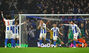 Brighton's Shane Duffy reacts after a goal is disallowed