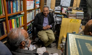 Shop owner Nadeem Ahmad Siddiqui with some patrons.