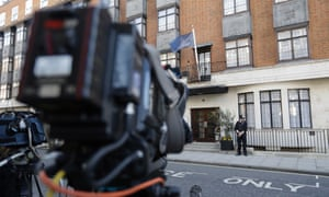 TV cameras are set up outside the entrance of King Edward VII hospital